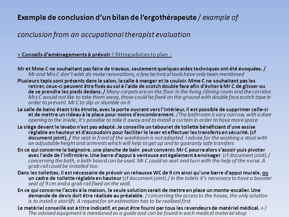 Exemple de conclusion dun bilan de lergothérapeute / example of conclusion from an occupational therapist evaluation « Conseils daménagements à prévoi
