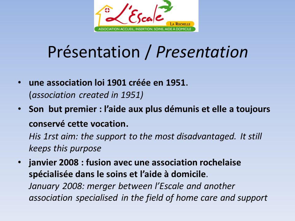 Présentation / Presentation une association loi 1901 créée en 1951. (association created in 1951) Son but premier : laide aux plus démunis et elle a t