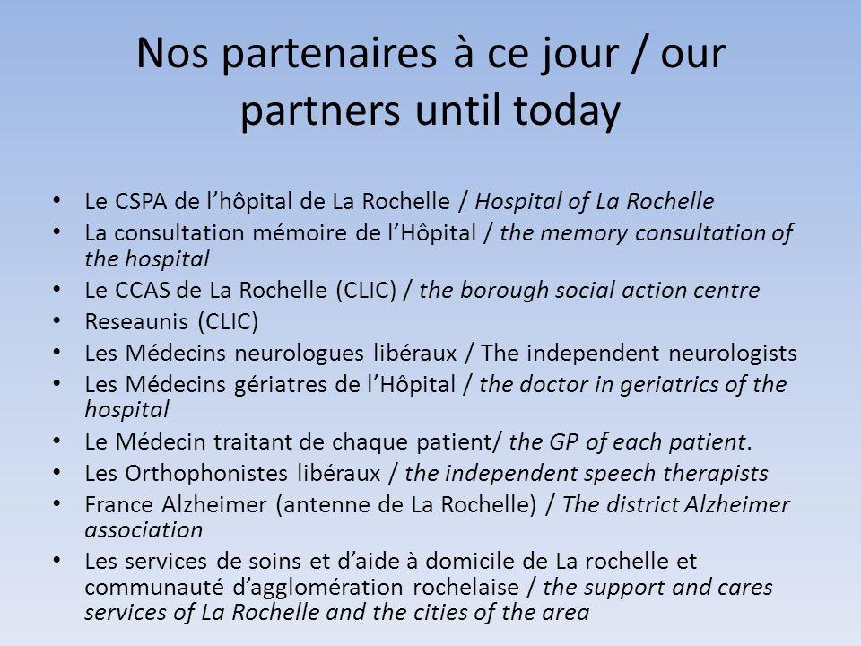 Nos partenaires à ce jour / our partners until today Le CSPA de lhôpital de La Rochelle / Hospital of La Rochelle La consultation mémoire de lHôpital