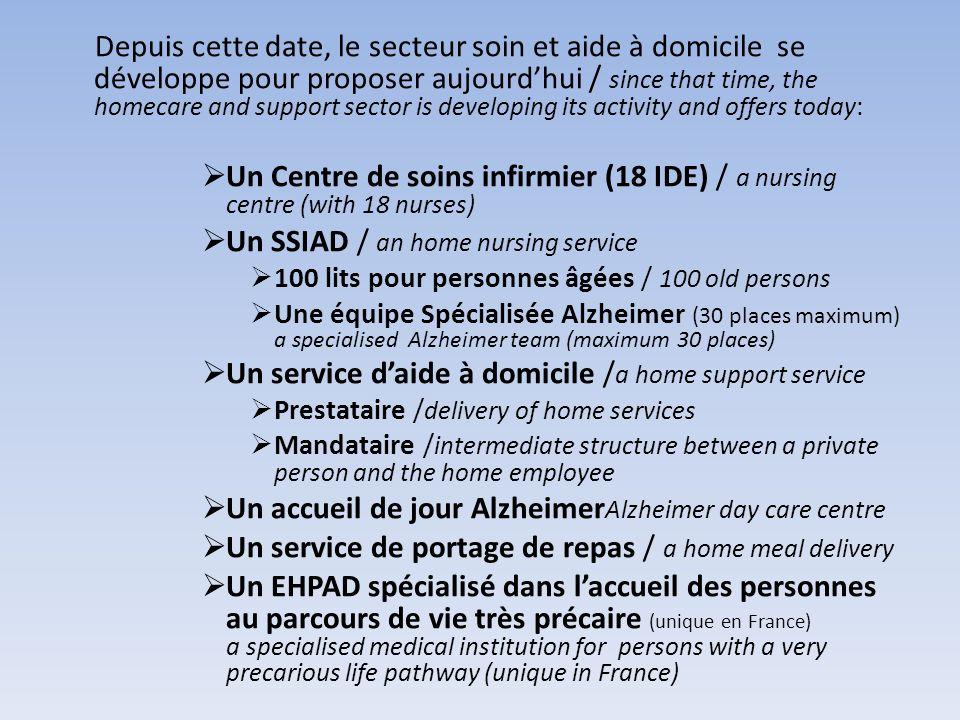 Depuis cette date, le secteur soin et aide à domicile se développe pour proposer aujourdhui / since that time, the homecare and support sector is deve