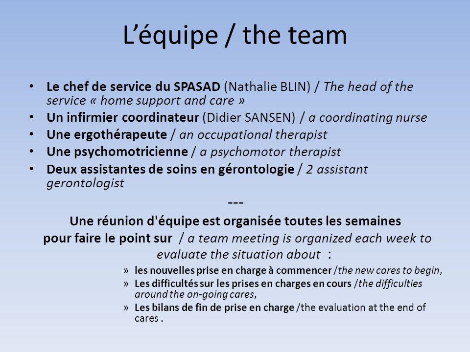 Léquipe / the team Le chef de service du SPASAD (Nathalie BLIN) / The head of the service « home support and care » Un infirmier coordinateur (Didier