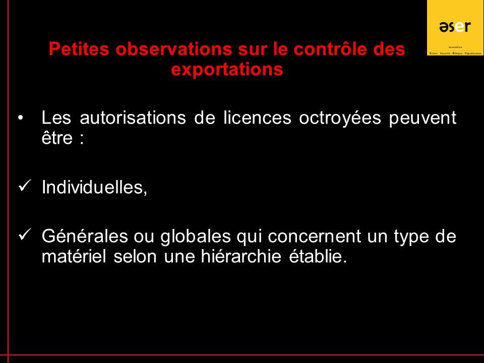 Les autorisations de licences octroyées peuvent être : Individuelles, Générales ou globales qui concernent un type de matériel selon une hiérarchie établie.