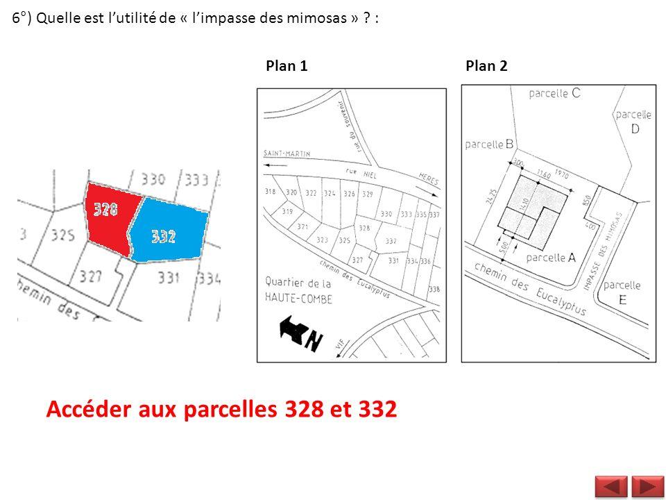 6°) Quelle est lutilité de « limpasse des mimosas » ? : Plan 1Plan 2 Accéder aux parcelles 328 et 332
