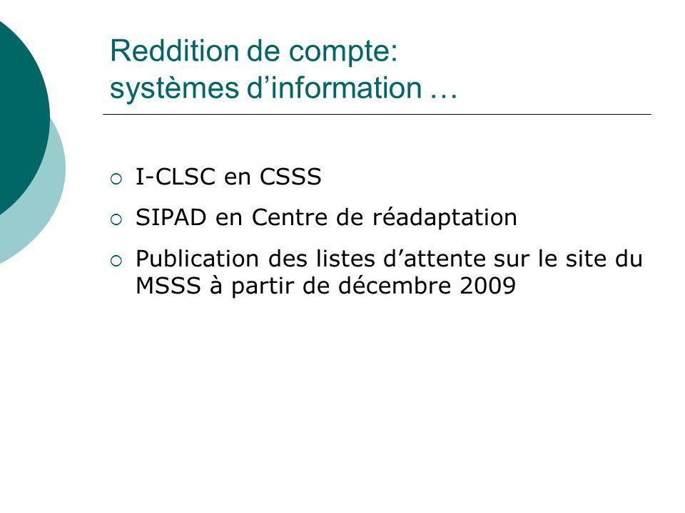 Reddition de compte: systèmes dinformation … I-CLSC en CSSS SIPAD en Centre de réadaptation Publication des listes dattente sur le site du MSSS à partir de décembre 2009