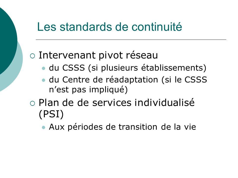 Les standards de continuité Intervenant pivot réseau du CSSS (si plusieurs établissements) du Centre de réadaptation (si le CSSS nest pas impliqué) Plan de de services individualisé (PSI) Aux périodes de transition de la vie