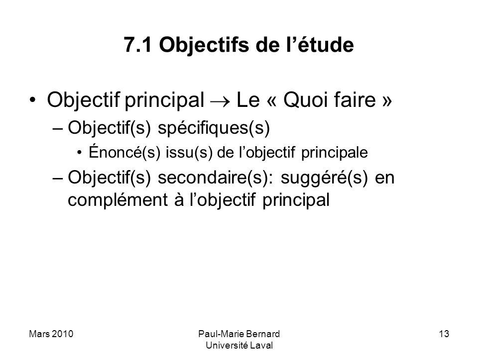 Mars 2010Paul-Marie Bernard Université Laval 13 7.1 Objectifs de létude Objectif principal Le « Quoi faire » –Objectif(s) spécifiques(s) Énoncé(s) iss