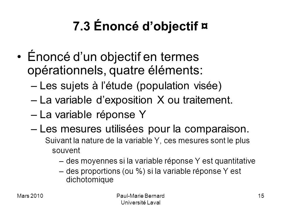 Mars 2010Paul-Marie Bernard Université Laval 15 7.3 Énoncé dobjectif ¤ Énoncé dun objectif en termes opérationnels, quatre éléments: –Les sujets à lét