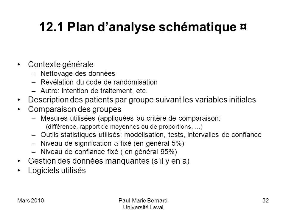 Mars 2010Paul-Marie Bernard Université Laval 32 12.1 Plan danalyse schématique ¤ Contexte générale –Nettoyage des données –Révélation du code de rando