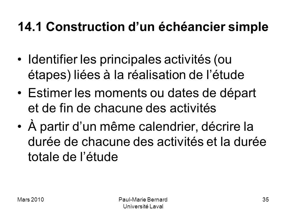 Mars 2010Paul-Marie Bernard Université Laval 35 14.1 Construction dun échéancier simple Identifier les principales activités (ou étapes) liées à la ré