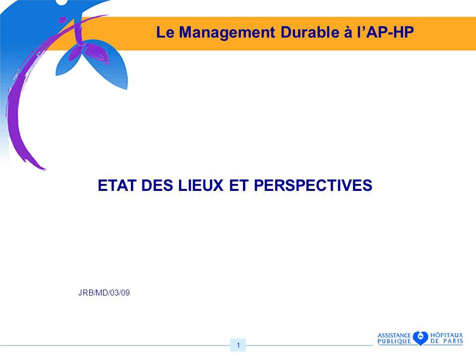 1 Le Management Durable à lAP-HP ETAT DES LIEUX ET PERSPECTIVES JRB/MD/03/09