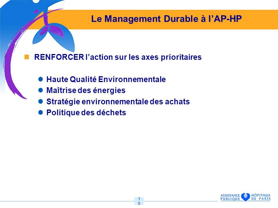 10 Le Management Durable à lAP-HP RENFORCER laction sur les axes prioritaires Haute Qualité Environnementale Maîtrise des énergies Stratégie environnementale des achats Politique des déchets