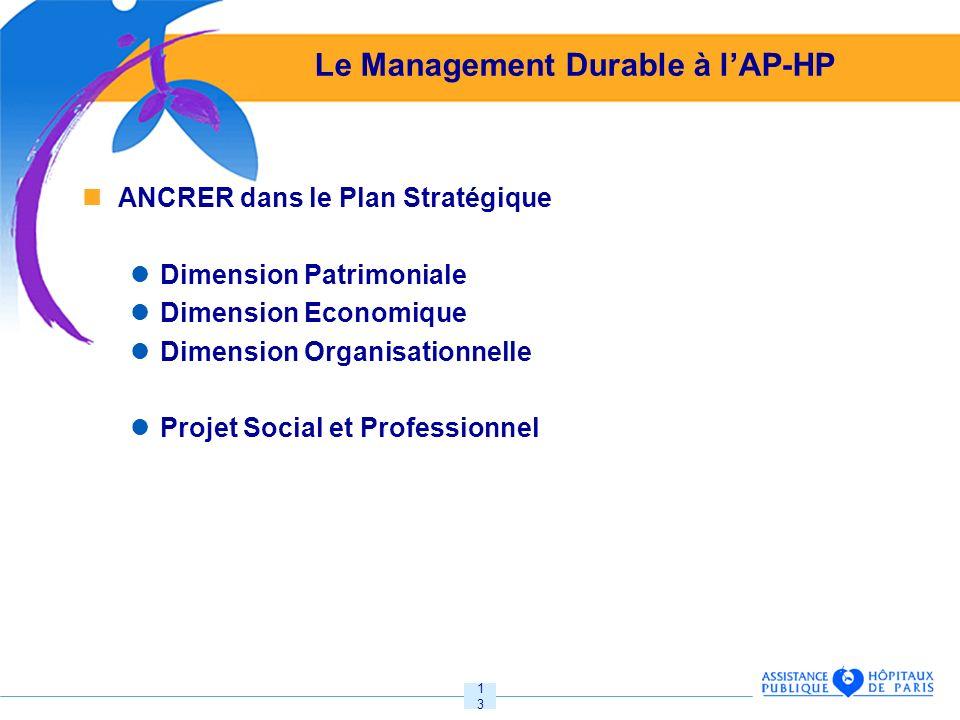 13 Le Management Durable à lAP-HP ANCRER dans le Plan Stratégique Dimension Patrimoniale Dimension Economique Dimension Organisationnelle Projet Social et Professionnel
