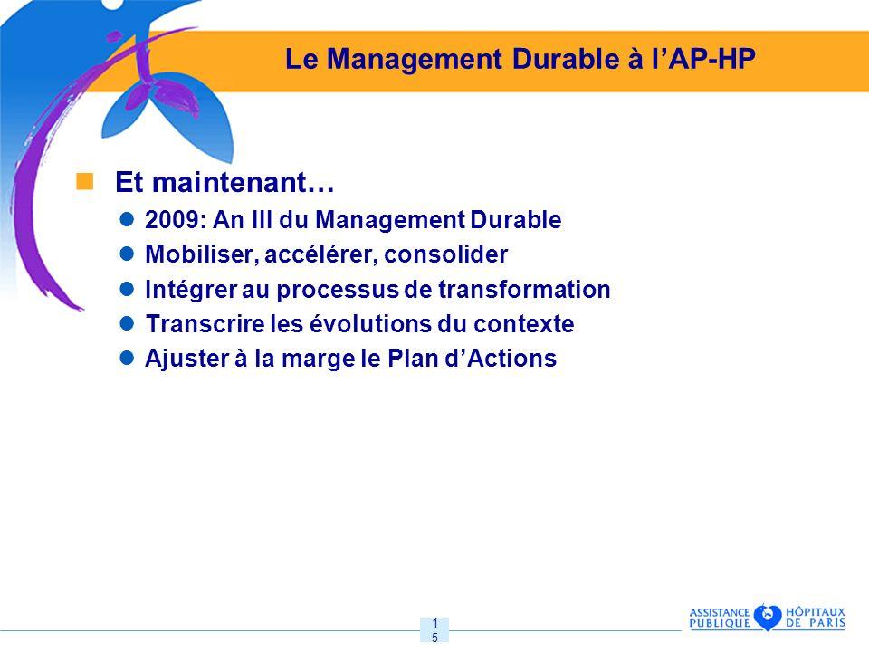 15 Le Management Durable à lAP-HP Et maintenant… 2009: An III du Management Durable Mobiliser, accélérer, consolider Intégrer au processus de transformation Transcrire les évolutions du contexte Ajuster à la marge le Plan dActions