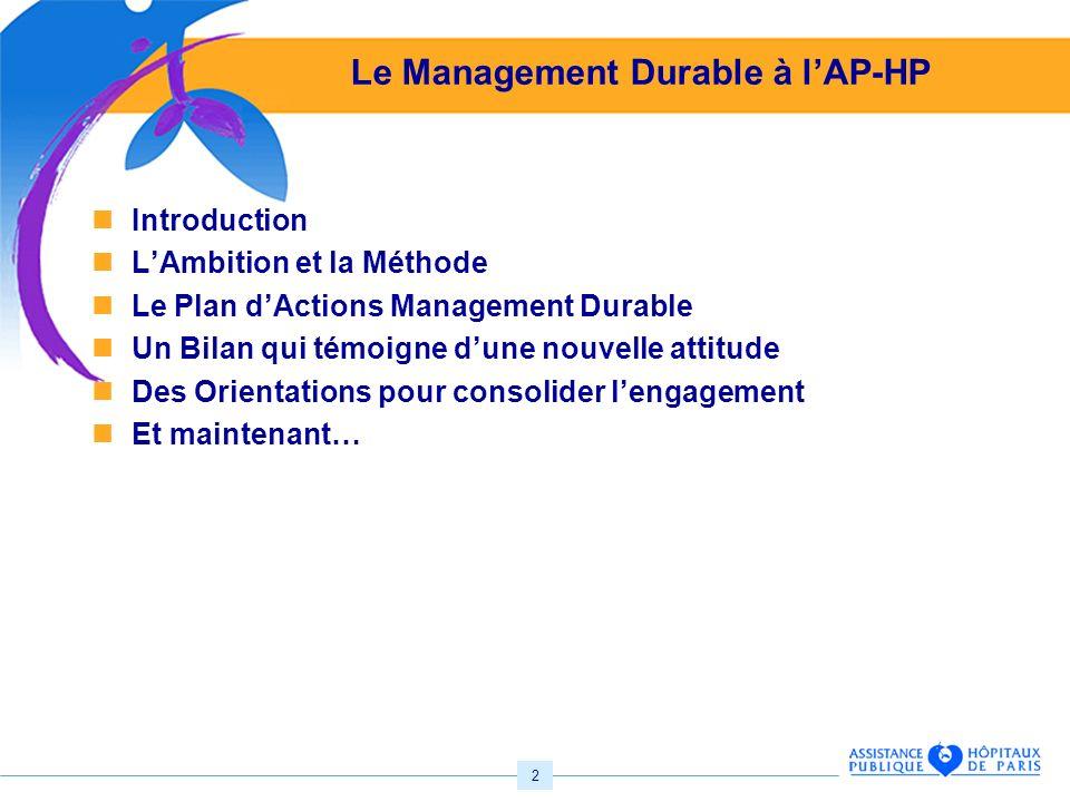 2 Le Management Durable à lAP-HP Introduction LAmbition et la Méthode Le Plan dActions Management Durable Un Bilan qui témoigne dune nouvelle attitude Des Orientations pour consolider lengagement Et maintenant…