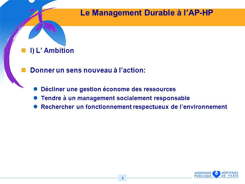 4 Le Management Durable à lAP-HP I) L Ambition Donner un sens nouveau à laction: Décliner une gestion économe des ressources Tendre à un management socialement responsable Rechercher un fonctionnement respectueux de lenvironnement