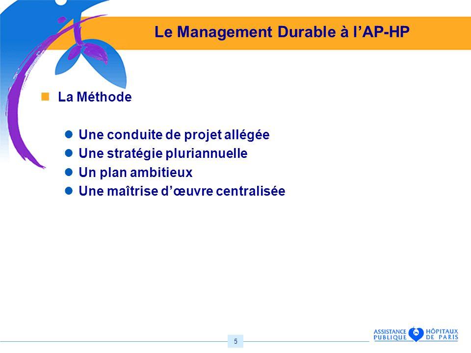 5 Le Management Durable à lAP-HP La Méthode Une conduite de projet allégée Une stratégie pluriannuelle Un plan ambitieux Une maîtrise dœuvre centralisée
