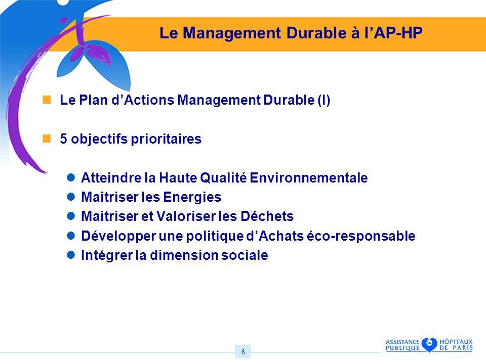 6 Le Management Durable à lAP-HP Le Plan dActions Management Durable (I) 5 objectifs prioritaires Atteindre la Haute Qualité Environnementale Maitriser les Energies Maitriser et Valoriser les Déchets Développer une politique dAchats éco-responsable Intégrer la dimension sociale