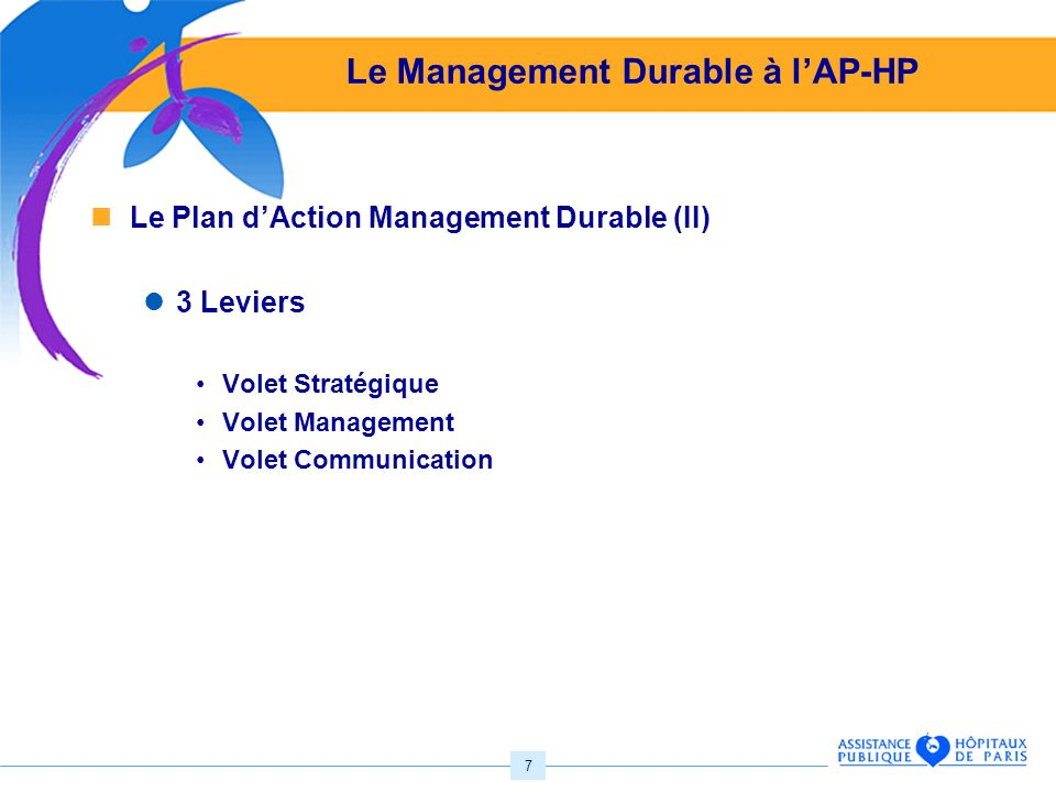 7 Le Management Durable à lAP-HP Le Plan dAction Management Durable (II) 3 Leviers Volet Stratégique Volet Management Volet Communication