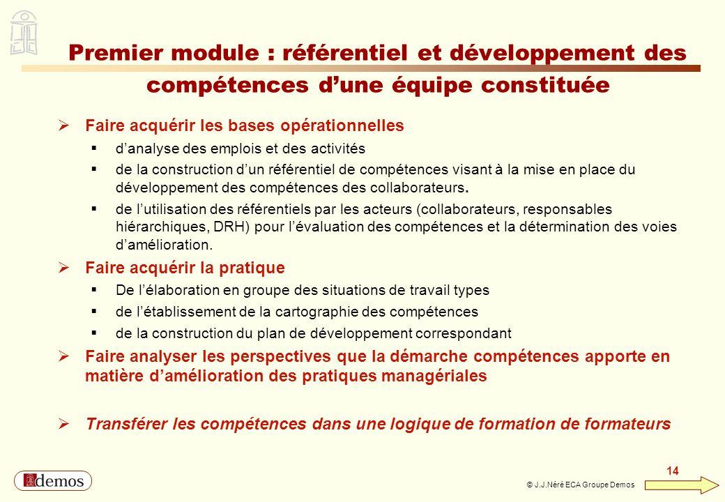 DEMOS - Département Management / Communication / Développement personnel 01 44 94 16 16 14 © J.J.Néré ECA Groupe Demos Premier module : référentiel et