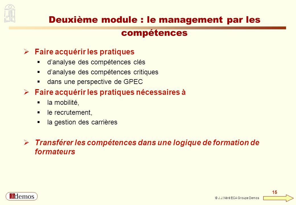 DEMOS - Département Management / Communication / Développement personnel 01 44 94 16 16 15 © J.J.Néré ECA Groupe Demos Deuxième module : le management