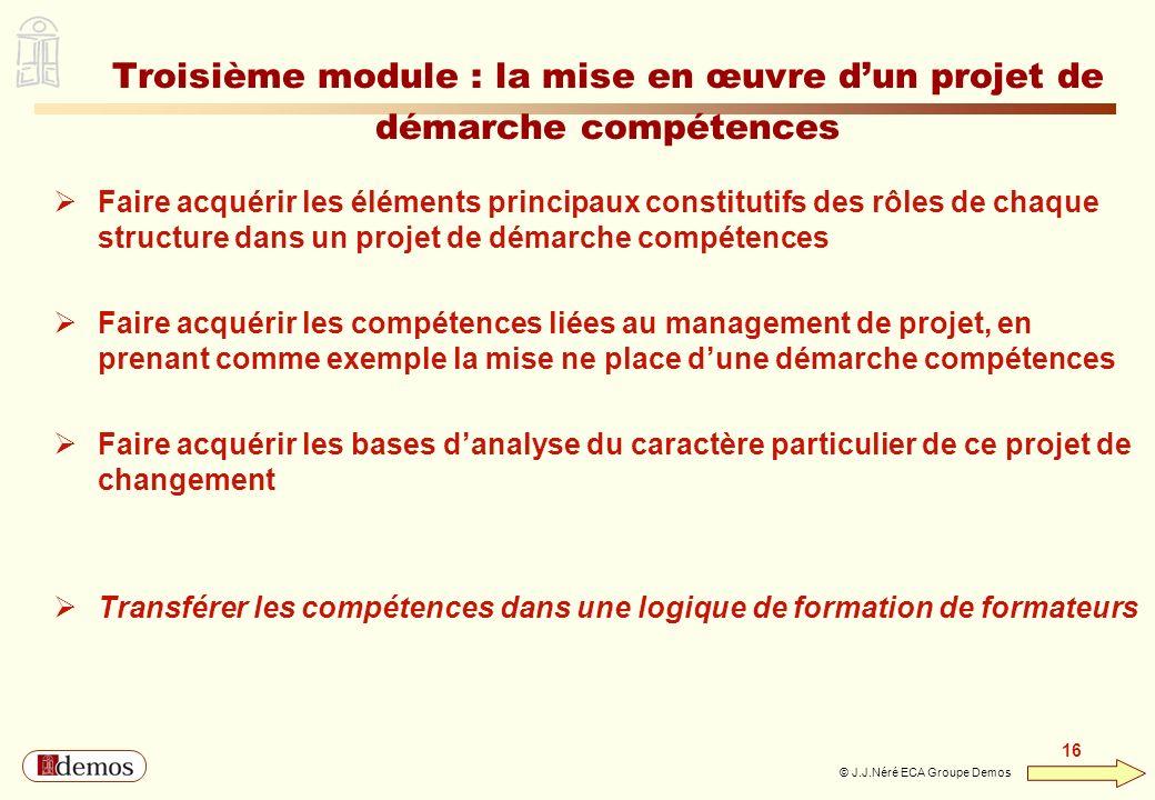DEMOS - Département Management / Communication / Développement personnel 01 44 94 16 16 16 © J.J.Néré ECA Groupe Demos Troisième module : la mise en œ