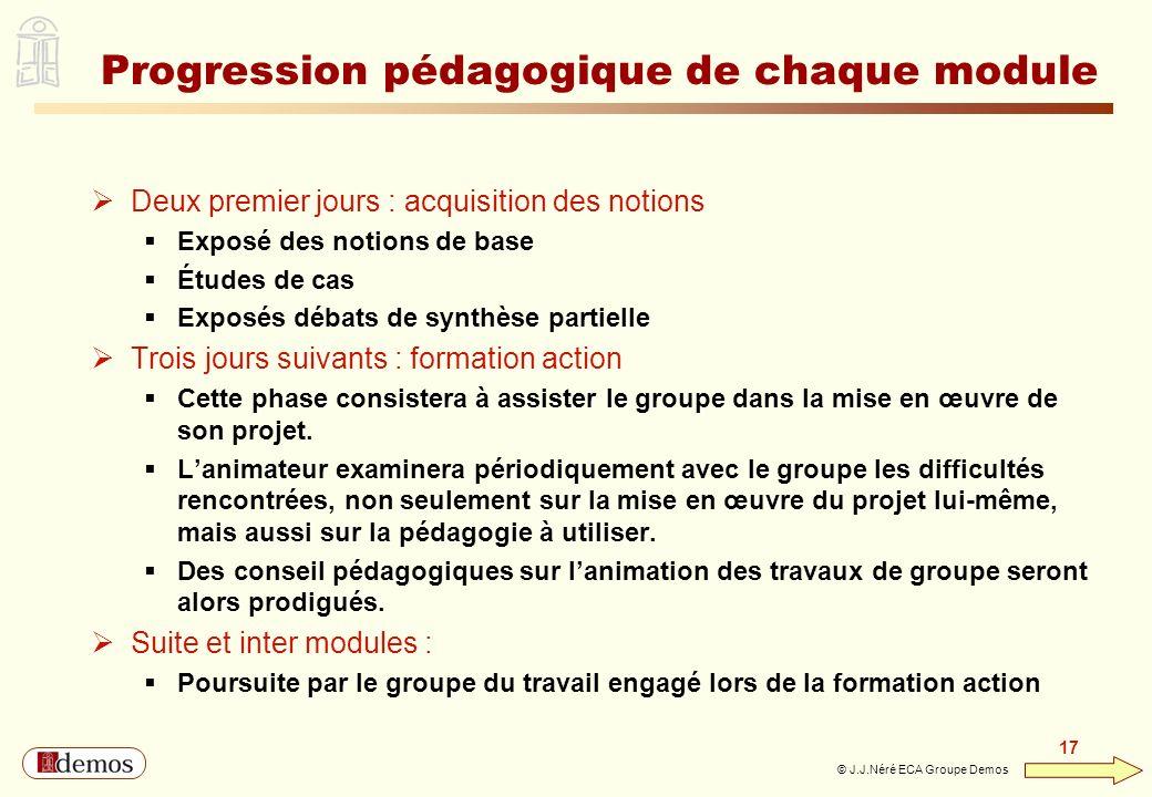 DEMOS - Département Management / Communication / Développement personnel 01 44 94 16 16 17 © J.J.Néré ECA Groupe Demos Progression pédagogique de chaq
