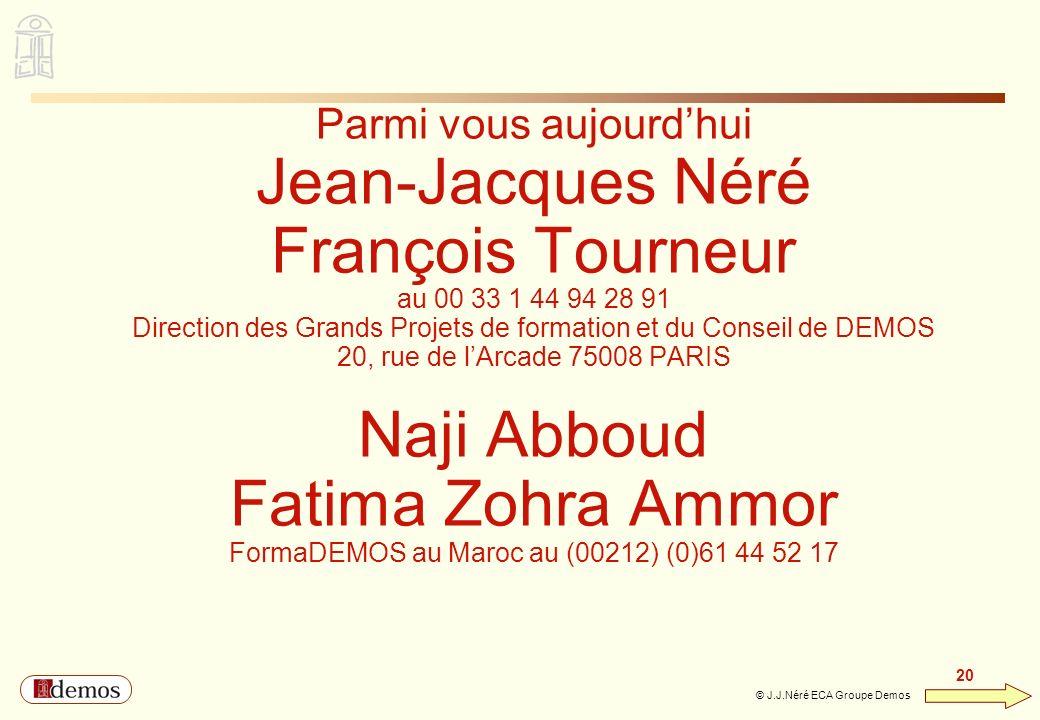 DEMOS - Département Management / Communication / Développement personnel 01 44 94 16 16 20 © J.J.Néré ECA Groupe Demos Parmi vous aujourdhui Jean-Jacq