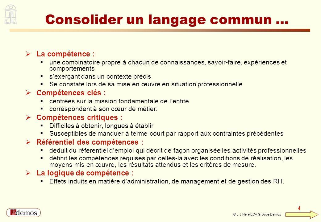 DEMOS - Département Management / Communication / Développement personnel 01 44 94 16 16 4 4 © J.J.Néré ECA Groupe Demos Consolider un langage commun …