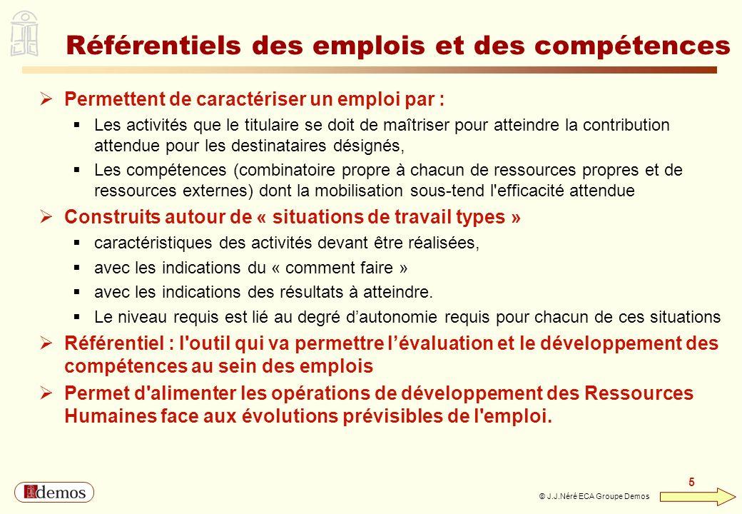 DEMOS - Département Management / Communication / Développement personnel 01 44 94 16 16 5 5 © J.J.Néré ECA Groupe Demos Référentiels des emplois et de