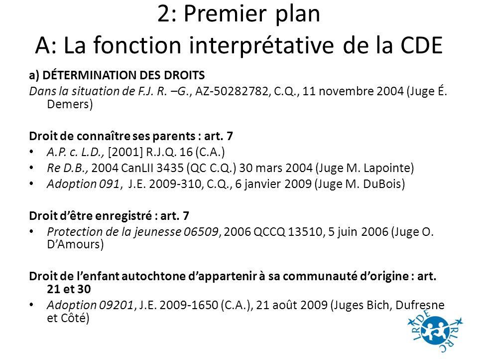 2: Premier plan A: La fonction interprétative de la CDE a) DÉTERMINATION DES DROITS Dans la situation de F.J.