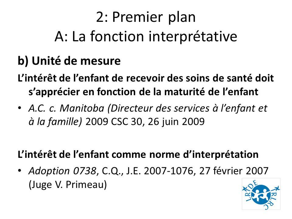 2: Premier plan A: La fonction interprétative b) Unité de mesure Lintérêt de lenfant de recevoir des soins de santé doit sapprécier en fonction de la maturité de lenfant A.C.