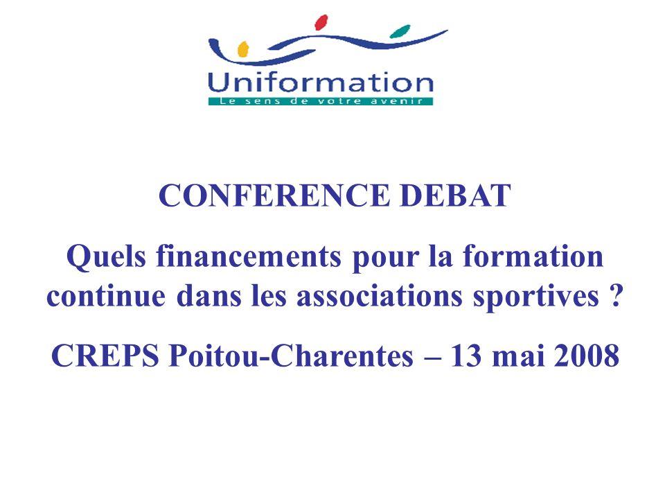 CONFERENCE DEBAT Quels financements pour la formation continue dans les associations sportives ? CREPS Poitou-Charentes – 13 mai 2008