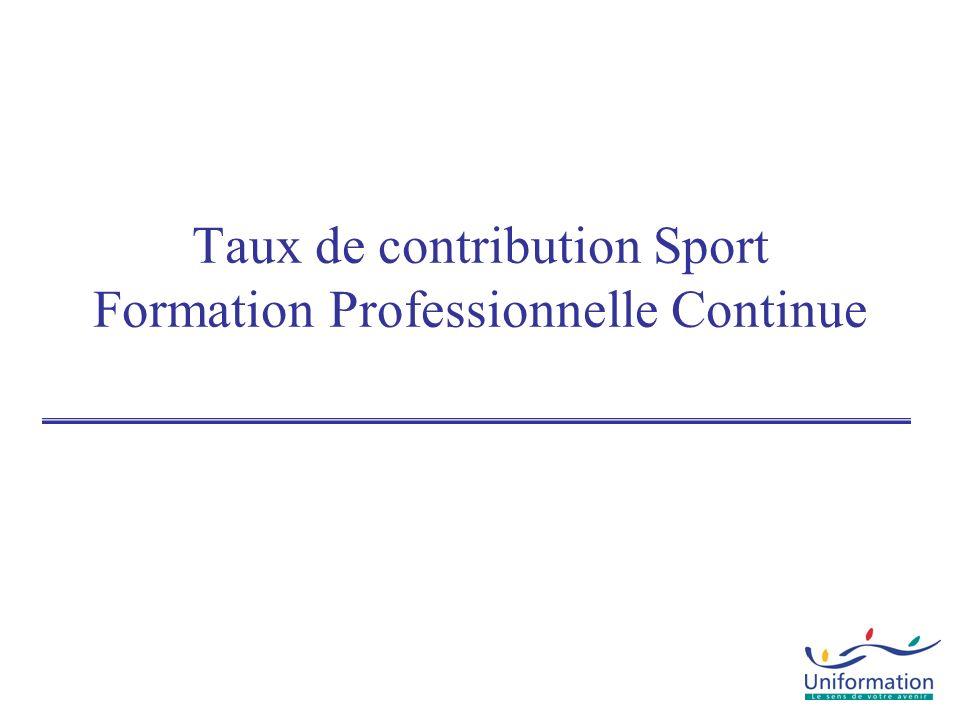 CPN Aide au paritarisme Taux de contribution SPORT Entreprises -10 salariés 1,62% Uniformation CIF-CDD DIF-CDD 1% MSB CDD + PLAN 0,25% 0.05% Uniformation Unif + PROFESSIONNALISATION 0,65% 1,35% Uniformation VERSEMENT OBLIGATOIRE Minimum conventionnel Uniformation ou gestion directe 0,70% CIF BENEVOLES 0,02% 30 euros mini 5 euros mini 3 euros mini 2 euros mini