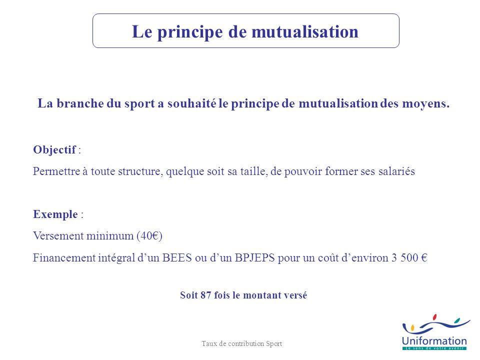 La branche du sport a souhaité le principe de mutualisation des moyens. Objectif : Permettre à toute structure, quelque soit sa taille, de pouvoir for