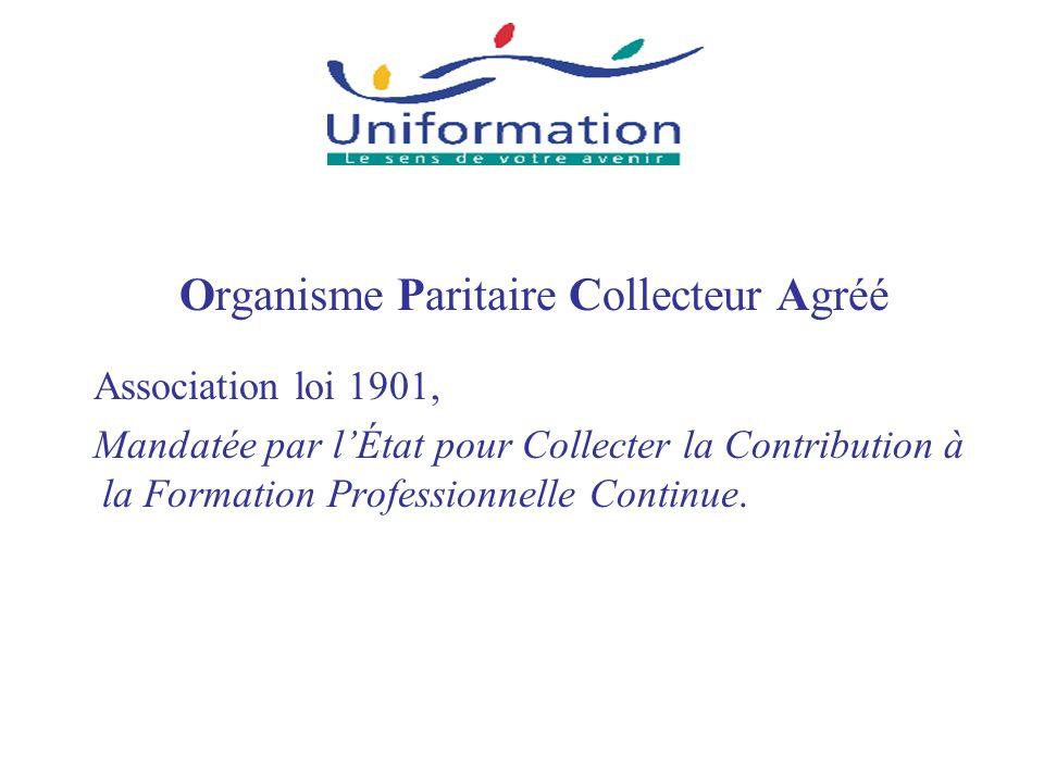 Organisme Paritaire Collecteur Agréé Association loi 1901, Mandatée par lÉtat pour Collecter la Contribution à la Formation Professionnelle Continue.