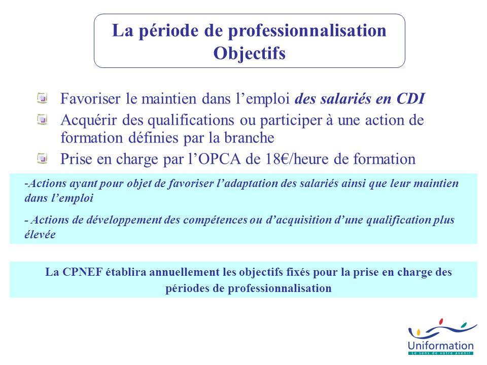 Favoriser le maintien dans lemploi des salariés en CDI Acquérir des qualifications ou participer à une action de formation définies par la branche Pri