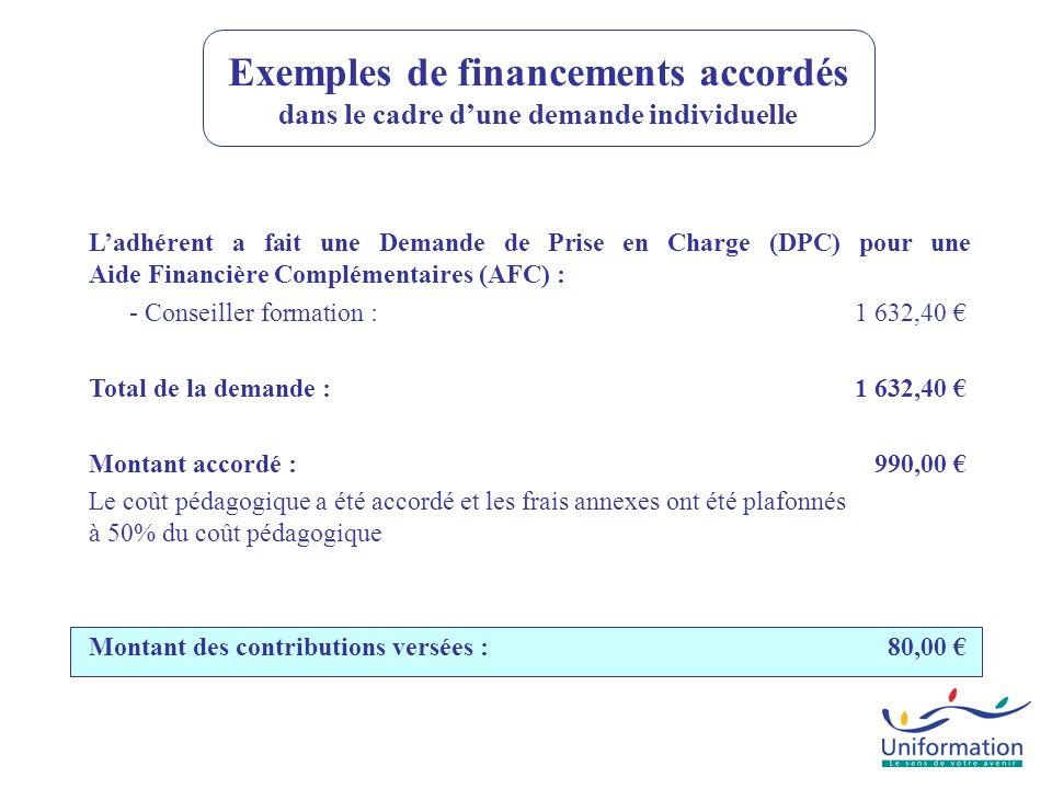 Ladhérent a fait une Demande de Prise en Charge (DPC) pour une Aide Financière Complémentaires (AFC) : - Conseiller formation : 1 632,40 Total de la d
