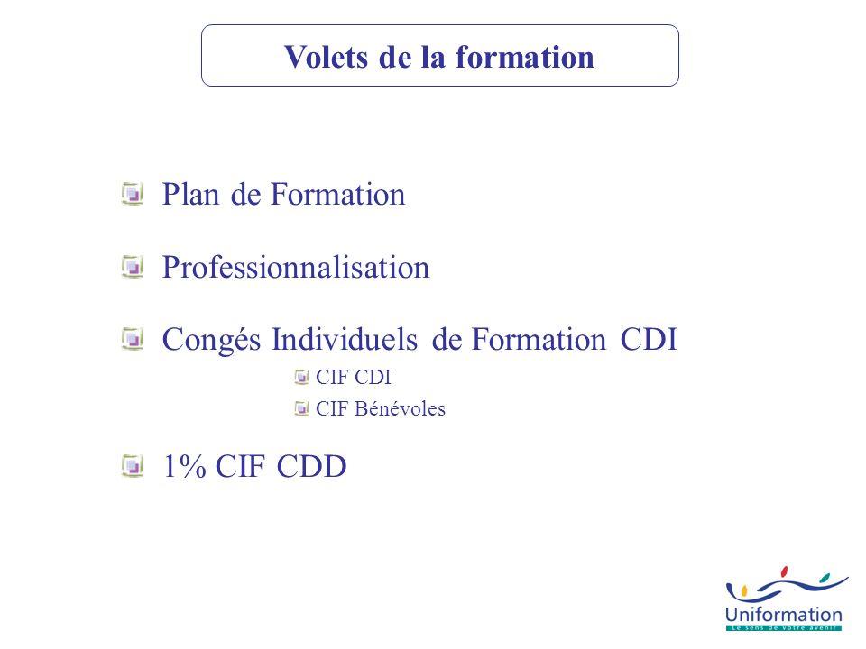 CIF CDD-CDI CIF-CDD PLAN PROFESSIONNALISATION -Actions et dépenses de formation imputables Dont: -DIF: actions non définies comme prioritaires par la branche -allocations de formation -Contrats de Professionnalisation -Périodes de Professionnalisation -DIF: actions définies comme prioritaires par la branche -Formation tuteur et frais liés à lexercice de la fonction tutorale Possibilités de Financement +