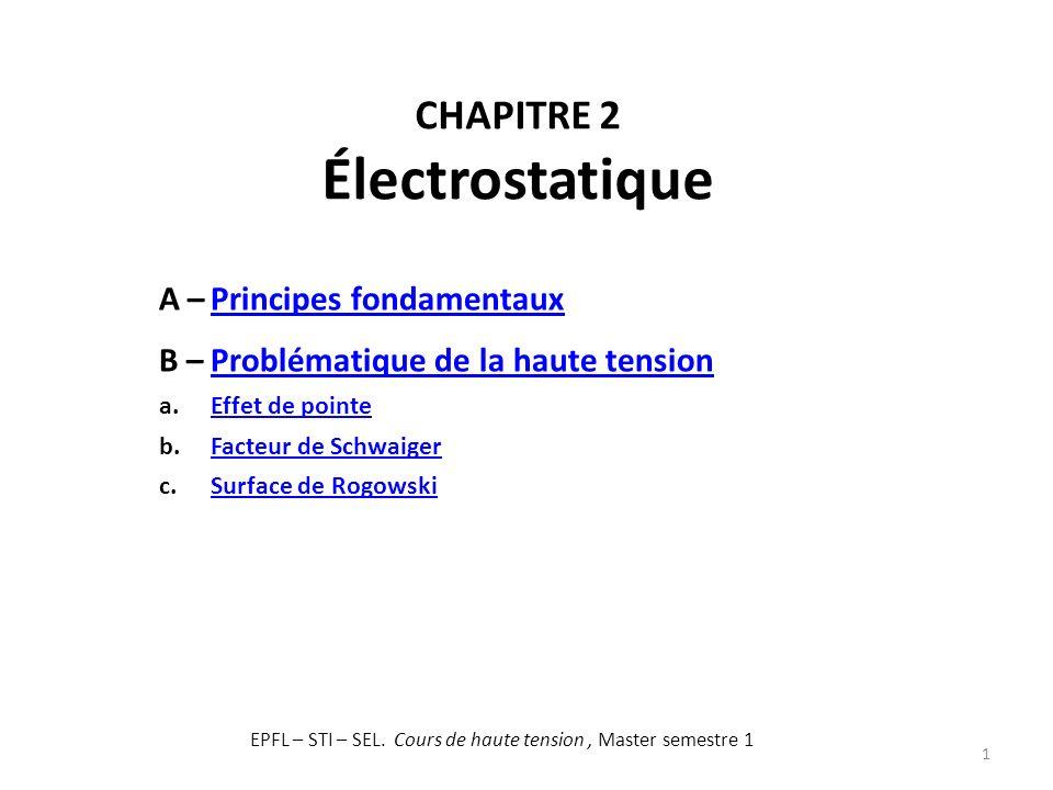 CHAPITRE 2 Électrostatique 1 A –Principes fondamentauxPrincipes fondamentaux B –Problématique de la haute tensionProblématique de la haute tension a.E