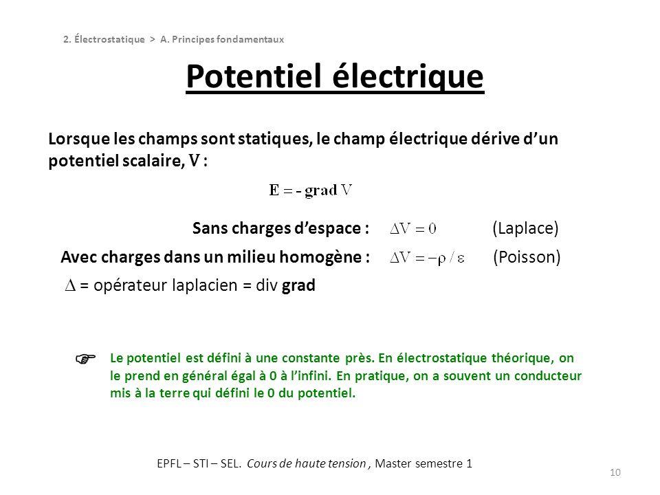 10 2. Électrostatique > A. Principes fondamentaux Potentiel électrique Le potentiel est défini à une constante près. En électrostatique théorique, on