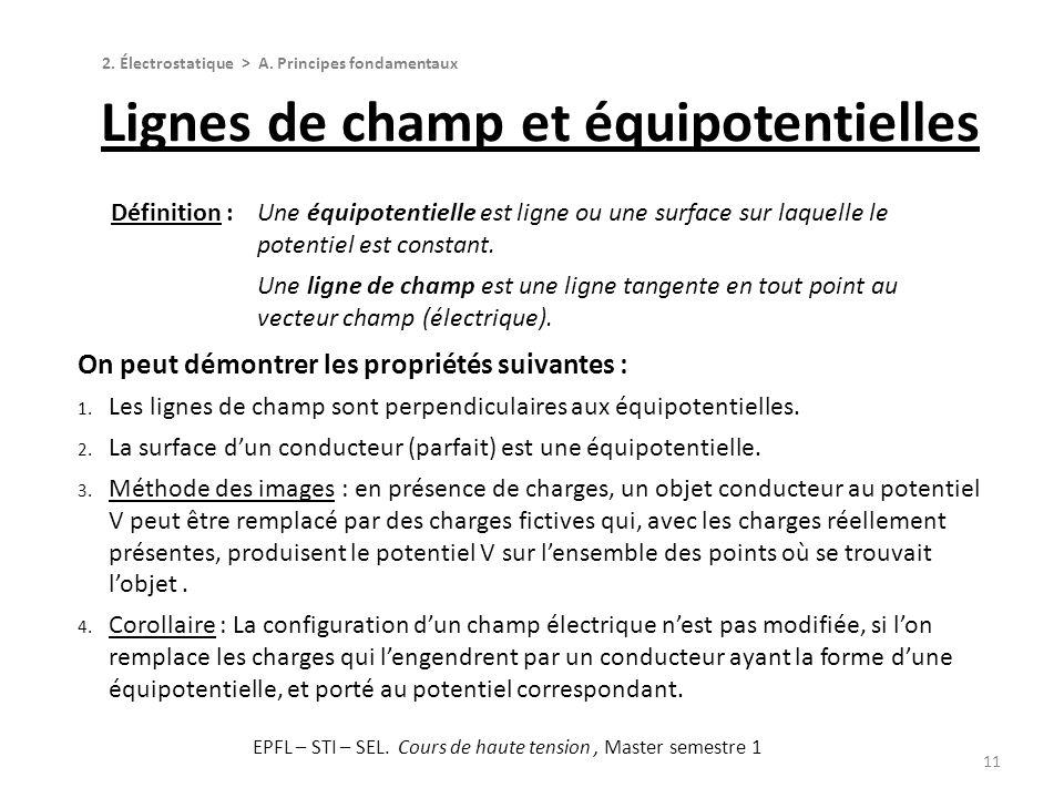 11 On peut démontrer les propriétés suivantes : 1. Les lignes de champ sont perpendiculaires aux équipotentielles. 2. La surface dun conducteur (parfa