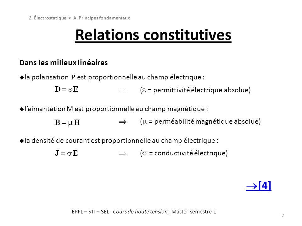 7 Dans les milieux linéaires la polarisation P est proportionnelle au champ électrique : ( = permittivité électrique absolue) laimantation M est propo