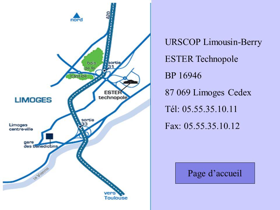 Page daccueil URSCOP Limousin-Berry ESTER Technopole BP 16946 87 069 Limoges Cedex Tél: 05.55.35.10.11 Fax: 05.55.35.10.12