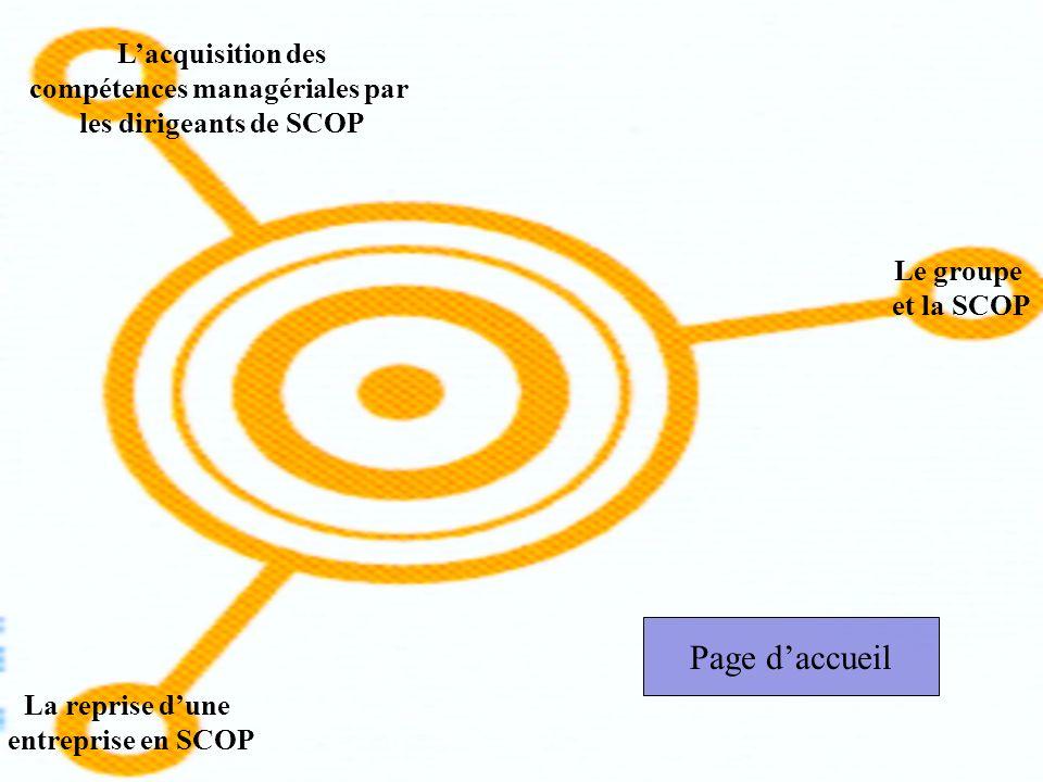 Lacquisition des compétences managériales par les dirigeants de SCOP Le groupe et la SCOP La reprise dune entreprise en SCOP Page daccueil