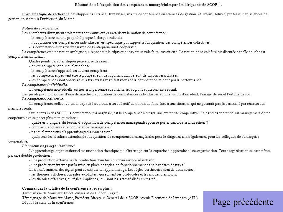 Résumé de « Lacquisition des compétences managériales par les dirigeants de SCOP ». Problématique de recherche développée par France Huntzinger, maîtr