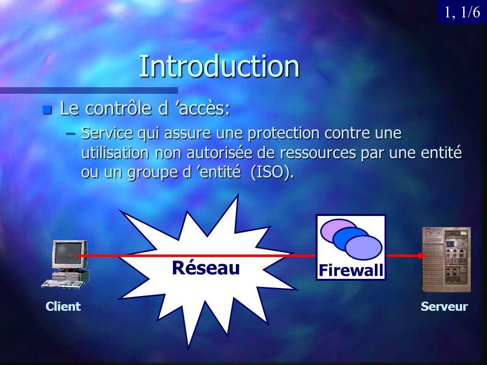 Introduction n Le contrôle d accès: –Service qui assure une protection contre une utilisation non autorisée de ressources par une entité ou un groupe