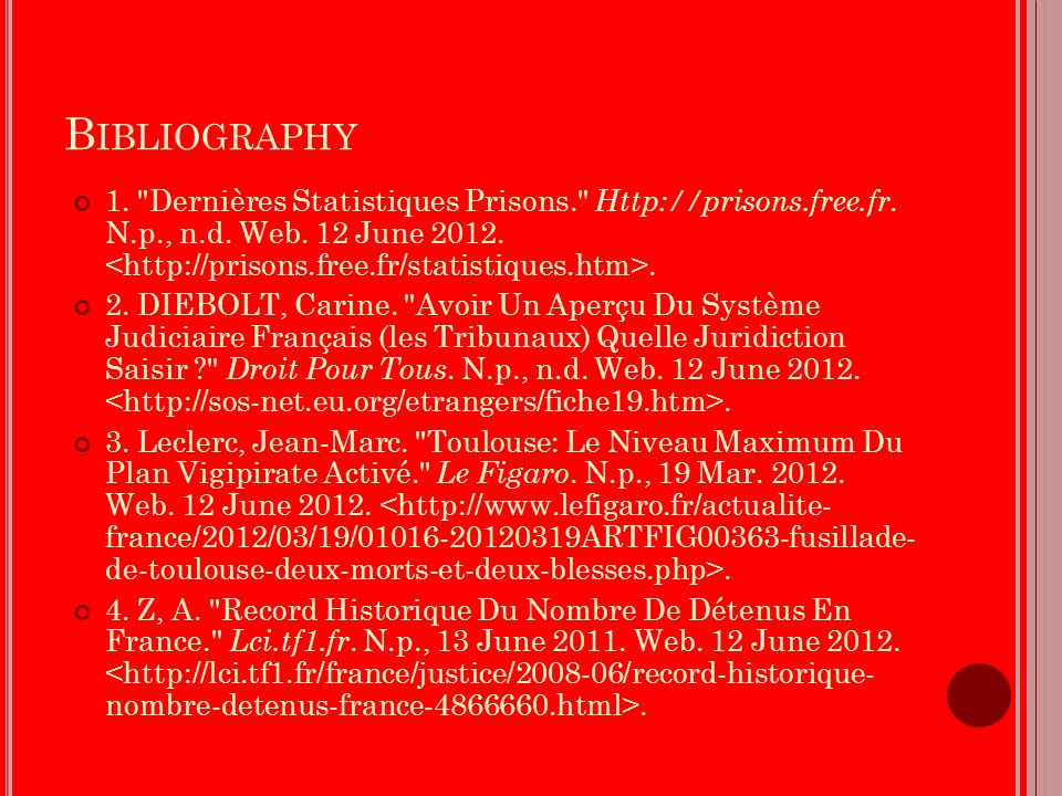 B IBLIOGRAPHY 1. Dernières Statistiques Prisons. Http://prisons.free.fr.