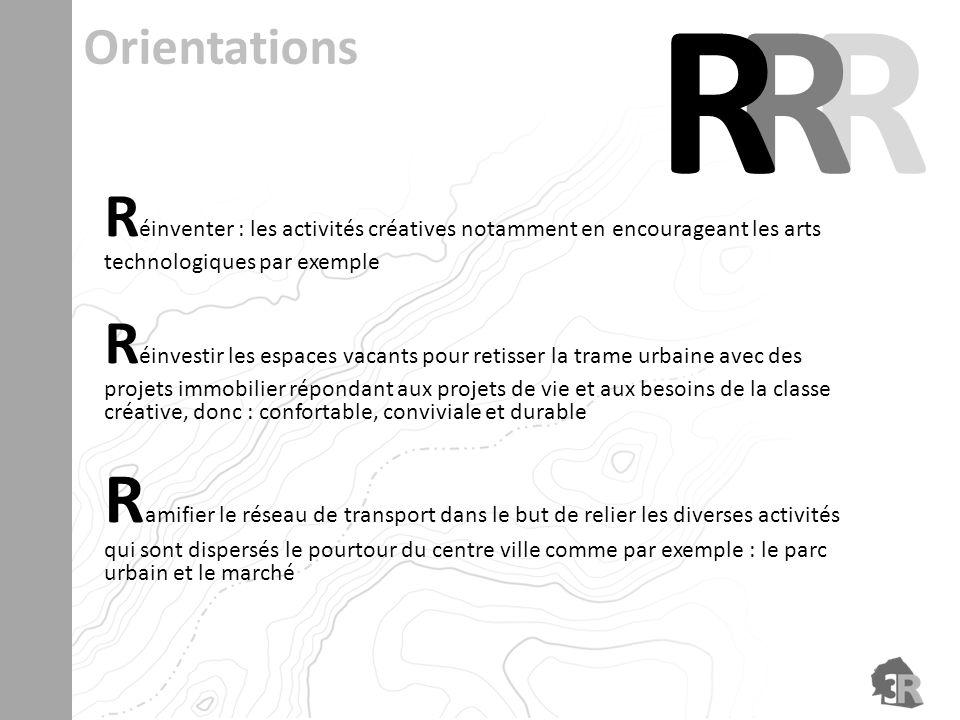R éinventer : les activités créatives notamment en encourageant les arts technologiques par exemple R éinvestir les espaces vacants pour retisser la t