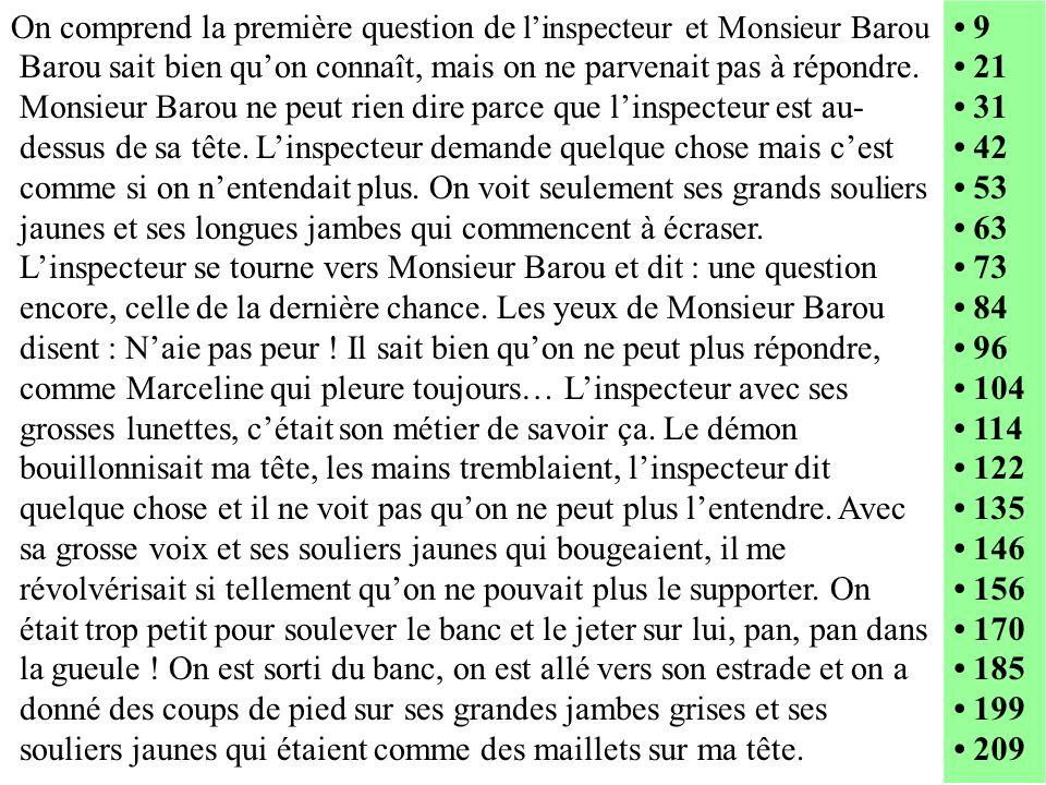 On comprend la première question de linspecteur et Monsieur Barou Barou sait bien quon connaît, mais on ne parvenait pas à répondre. Monsieur Barou ne
