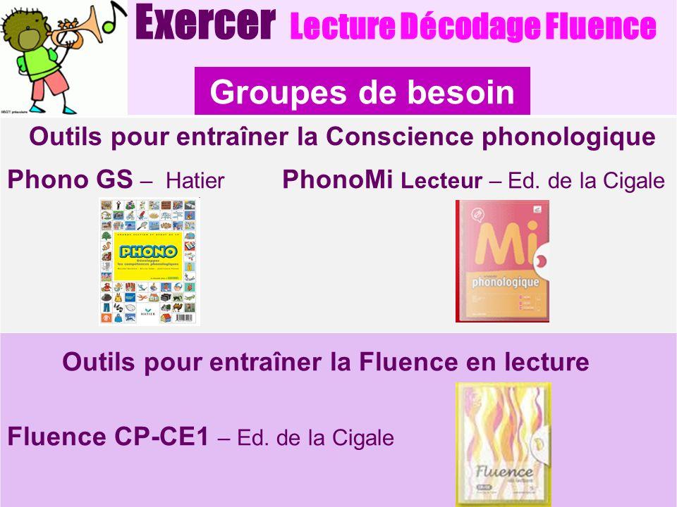 Exercer Lecture Décodage Fluence Outils pour entraîner la Conscience phonologique Phono GS – Hatier PhonoMi Lecteur – Ed. de la Cigale Outils pour ent